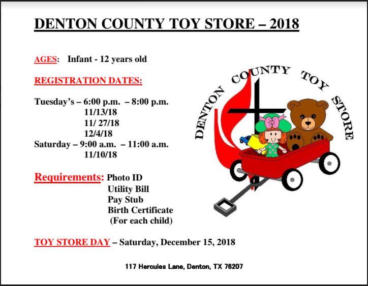 Toy Store Registration Asbury United Methodist Church Denton Texas